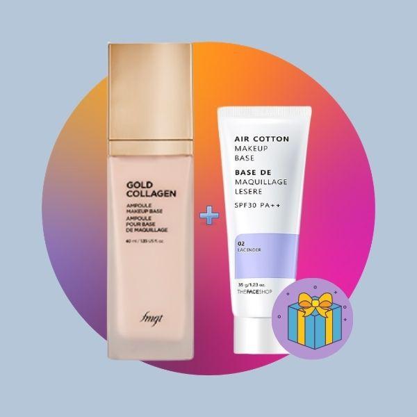 Kem Lót Cao Cấp The Face Shop Gold Collagen Ampoule Make Up Base SPF30 PA++ 40ml (Tặng kèm kem lót Air Cotton)