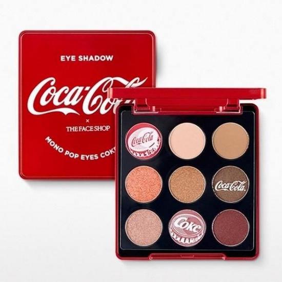 Bảng Phấn Mắt 9 Ô Màu Thời Thượng The Face Shop x Coca Cola Mono Pop Eyes 5.4g