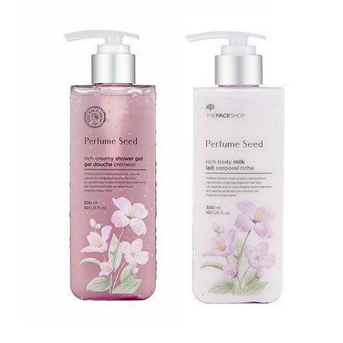 Bộ 2 Sản Phẩm Sữa Tắm Và Sữa Dưỡng Thể Hoa Nhài The Face Shop Perfume Seed (300ml+300ml)