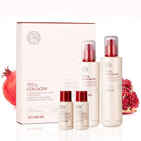Bộ Dưỡng Chăm Sóc Da Đẩy Lùi Các Dấu Hiệu Lão Hóa The Face Shop Collagen Pomegranate & Collagen Skincare Set (4 sản phẩm)