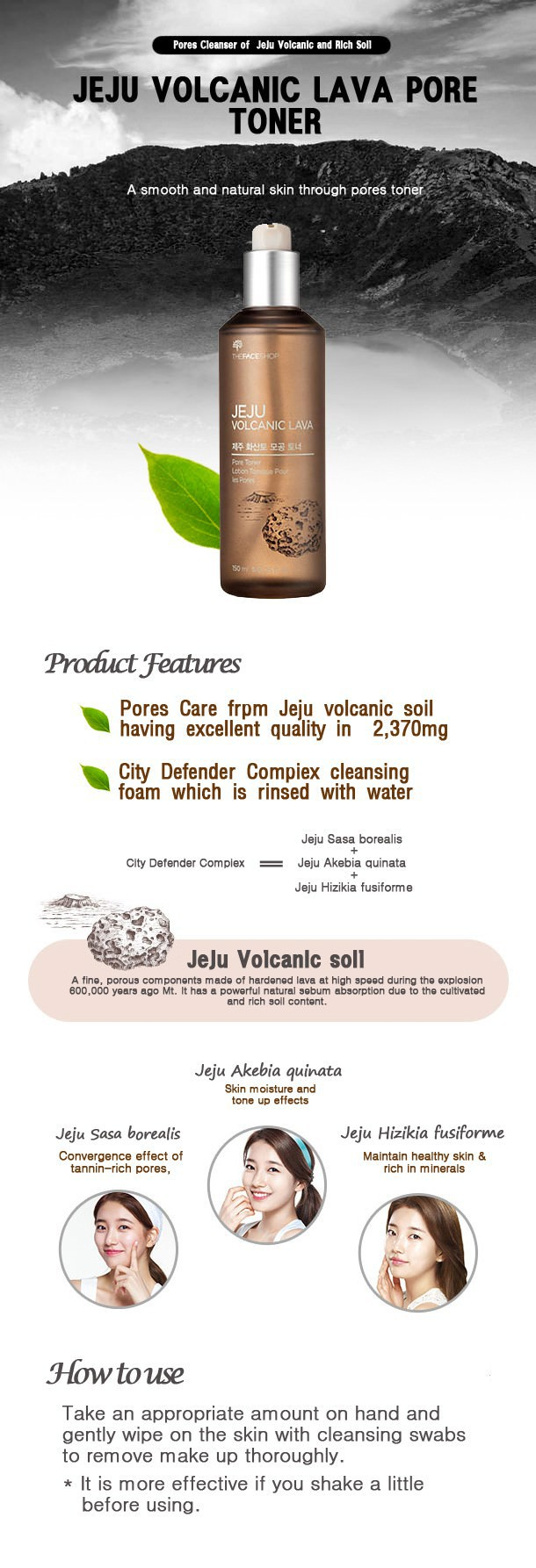 Nước Hoa Hồng Đất Sét và Tro Núi Lửa The Face Shop Jeju Volcanic Lava Pore Toner 150ml