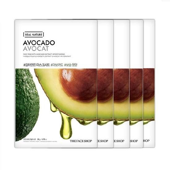 Combo 10 Mặt Nạ Bơ Phục Hồi Ẩm Tối Ưu The Face Shop Real Nature Avocado Mask Sheet 20g (Sample)