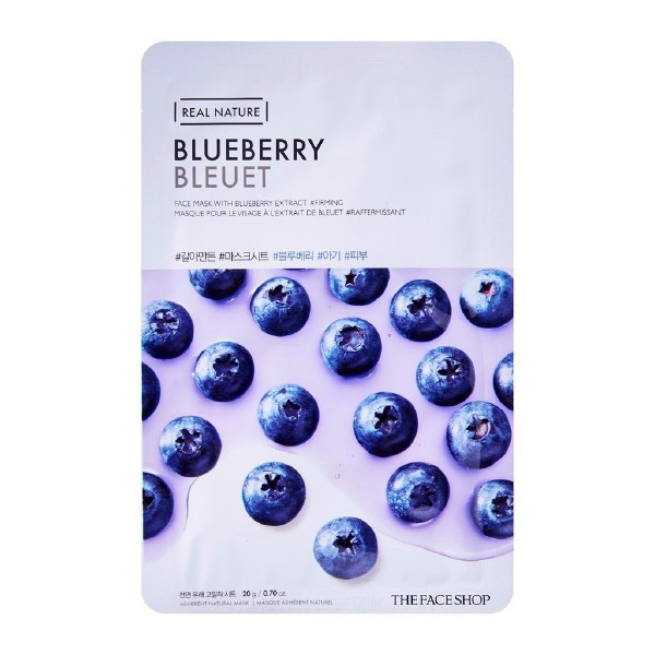 Combo 10 Mặt Nạ Giấy Chiết Xuất Việt Quất The Face Shop Real Nature Mask Blueberry 20g