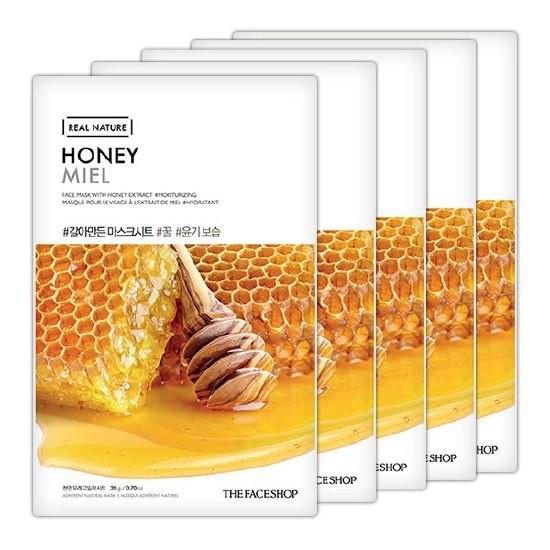 Combo 10 Mặt Nạ Giấy Mật Ong Dưỡng Da Trắng Sáng The Face Shop Real Nature Mask Honey 20g