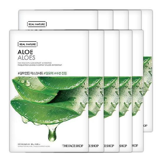 Combo 10 Mặt Nạ Giấy Nha Đam The Face Shop Real Nature Mask Aloe 20g