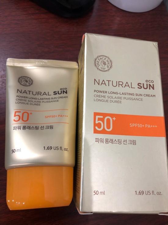 Kem Chống Nắng Lâu Trôi The Face Shop Natural Sun Eco Power Long Lasting Sun Cream SPF50+/PA+++ 50ml (mẫu thử)