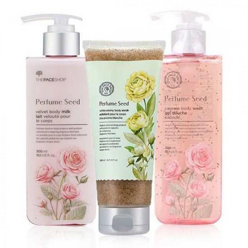 Bộ Làm Sạch Và Dưỡng Trắng Da Toàn Thân The Face Shop Perfume Seed Set (3 sản phẩm)