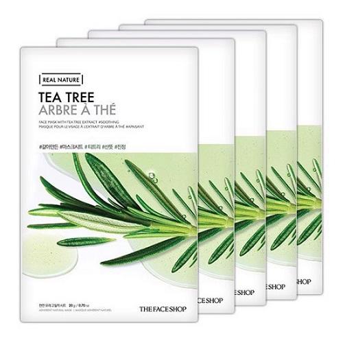 Combo 10 Mặt Nạ Giấy Chiết Xuất Tràm Trà The Face Shop Real Nature Mask Tea Tree 20g