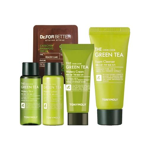 Bộ Dùng Thử Trà Xanh Tonymoly The Chok Chok Green Tea Watery Kit (5 Sản Phẩm)