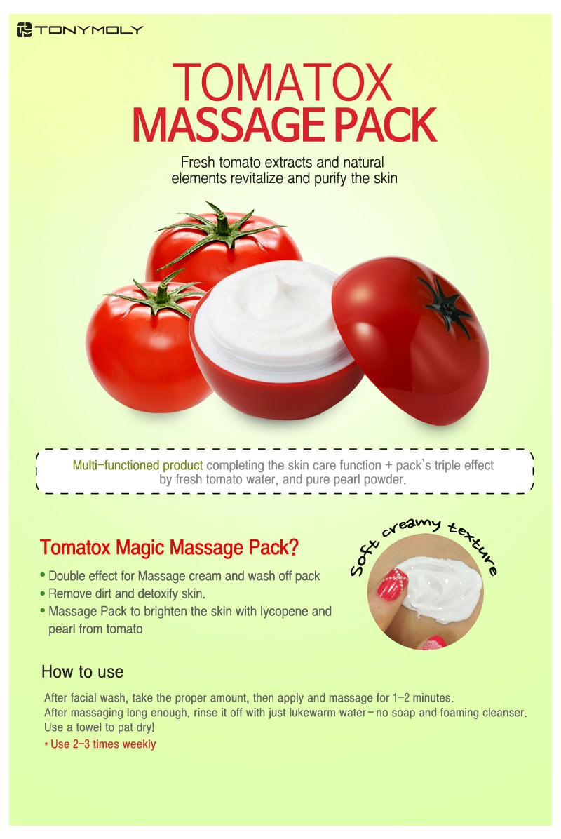[BIG SALES] Mặt Nạ Mátxa Cà Chua Dưỡng Trắng Tonymoly Tomatox Magic Massage Pack 80g