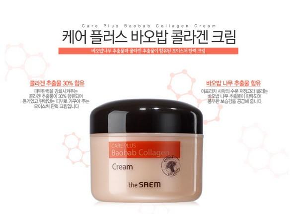 Kem Dưỡng Ẩm Chống Lão Hóa Da The Saem Care Plus Baobab Collagen Cream