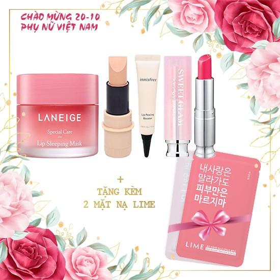Combo Môi đỏ - Sạch thâm + Tặng 02 mặt nạ Pink Recovery Mask Bright Solution