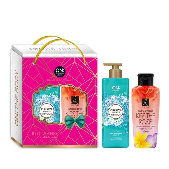 Bộ Dầu Gội Và Sữa Tắm Hương Nước Hoa On The Body Perfume Shower Body Wash Secret Jade 500g & Elastine Shampoo De Perfume Kiss The Rose 170ml
