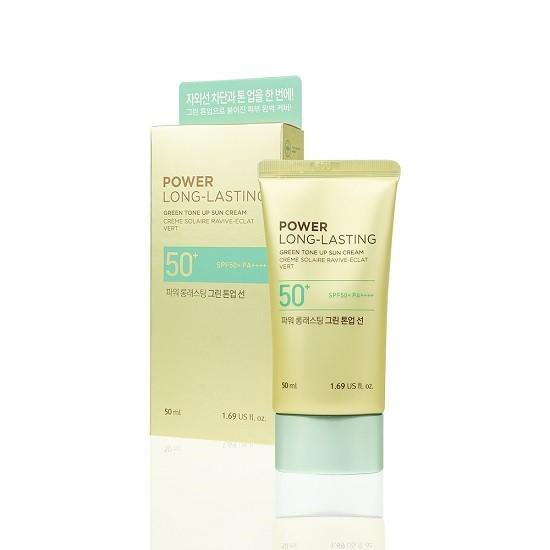Kem Chống Nắng Lâu Trôi The Face Shop Power Long-Lasting Green Tone Up Sun Cream SPF50+ PA++++ 50ml