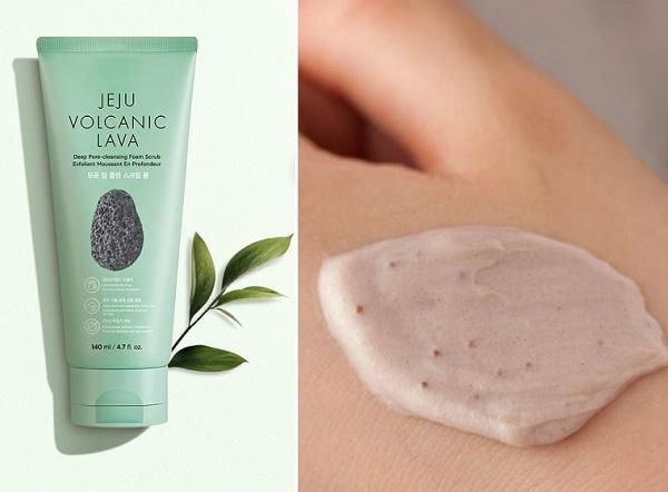 5/ Sữa Rửa Mặt Mátxa Tro Núi Lửa The Face Shop Jeju Volcanic Lava Pore Scrub Foam 140ml