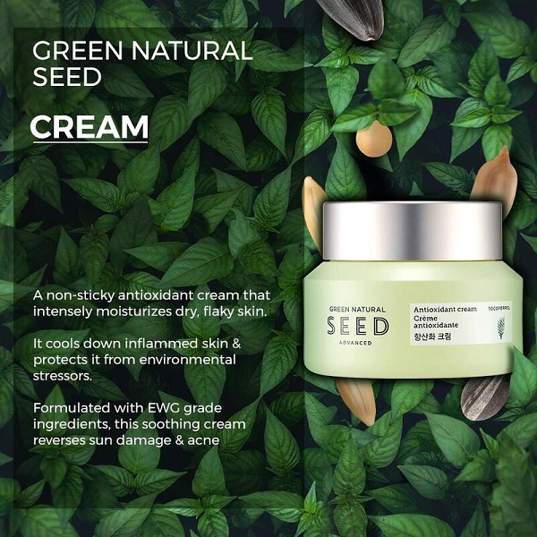 2/ Kem Dưỡng Chống Lão Hóa Da The Face Shop Green Natural Seed Advanced Antioxidant Cream 50ml 1