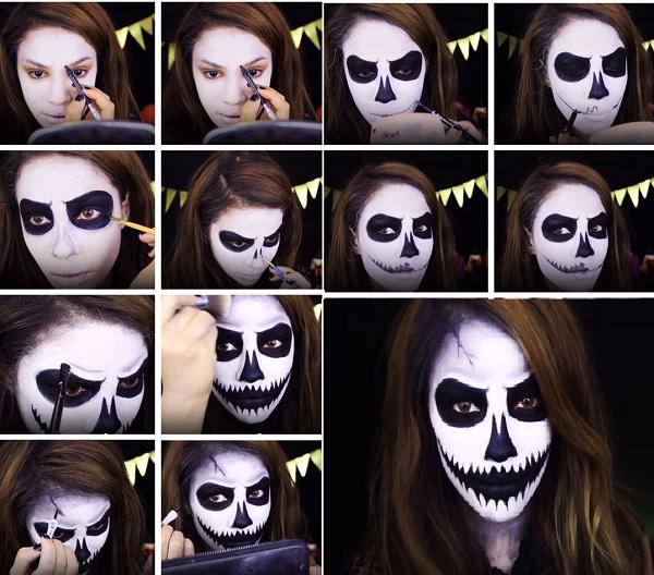 Đầu lâu nứt Ý Tưởng Trang Điểm Halloween Rùng Rợn Nhất Năm 2019