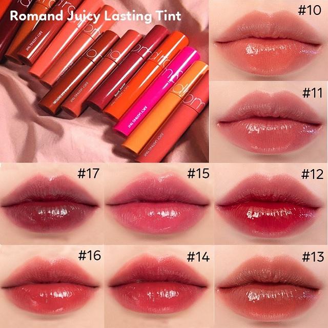 Màu 10 son tint lì Romand Juicy Lasting Tint 5,5g