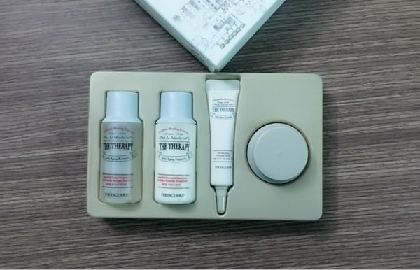 review bộ dưỡng da the face shop the therapy anti aging formula special kit chống lão hóa