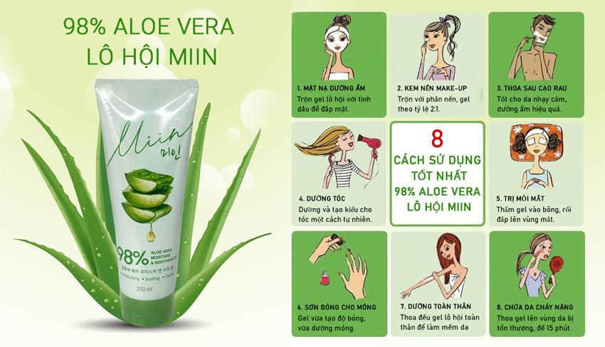 Review công dụng Gel Dưỡng Ẩm Da Nha Đam Miin 98% Aloe Vera Moisture & Soothing Gel 250ml