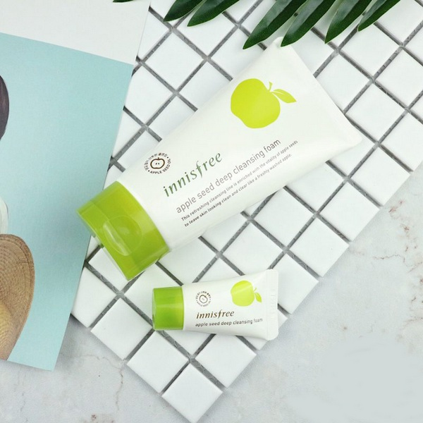 review sữa rửa mặt innisfree apple seed deep cleansing foam