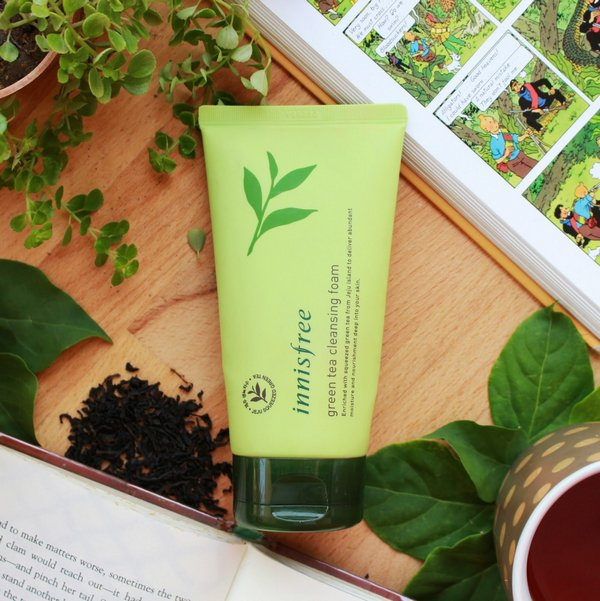 review sữa rửa mặt trà xanh innisfree green tea cleansing foam