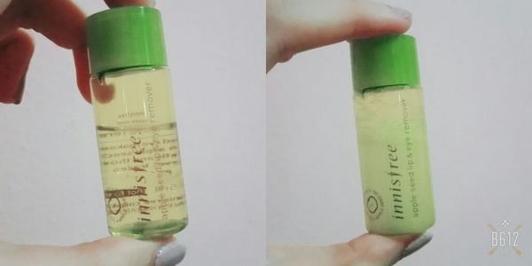 tẩy trang mắt môi innisfree apple seed lip eye remover chiết xuất táo xanh review