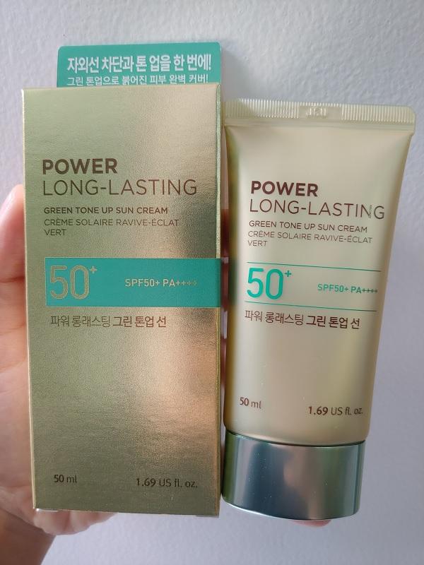 1/Kem Chống NắngLâu TrôiThe Face ShopPower Long-Lasting Green Tone Up SunCreamSPF50+ PA++++ 50ml