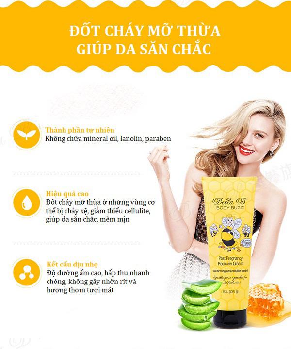 Kem Tan Mỡ và Săn Chắc Da Cho Phụ Nữ Sau Sinh Bella B Body Buzz Post Pregnancy Recovery Cream