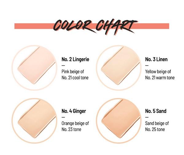 Bảng màu Phấn Nước Siêu Bền Màu Clio Kill Cover Glow Cushion SPF50+ PA+++