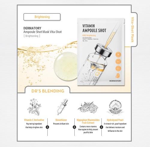 Combo 10 Mặt Nạ Giấy Bổ Sung Vitamin Dermatory Ampoule Shot Mask Vita-Shot 35g