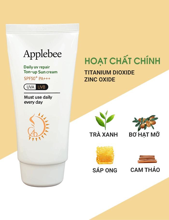 Thành phần Kem Chống Nắng Đa Năng Applebee Daily Uv Repair Ton-Up Sun Cream SPF50+PA+++ 70g