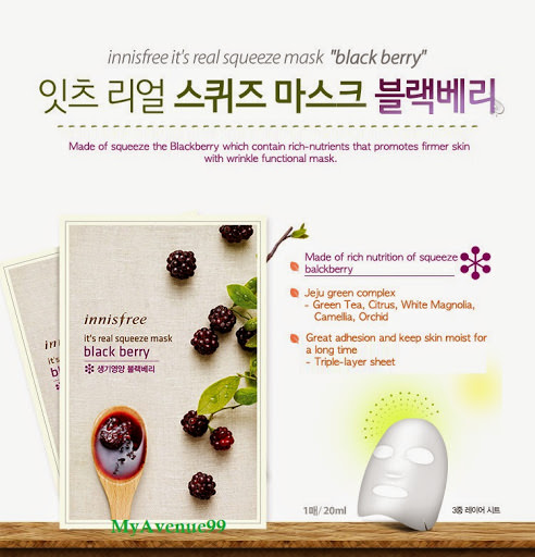 Mặt Nạ Giấy Innisfree Gói It's Real Squeeze Black Berry