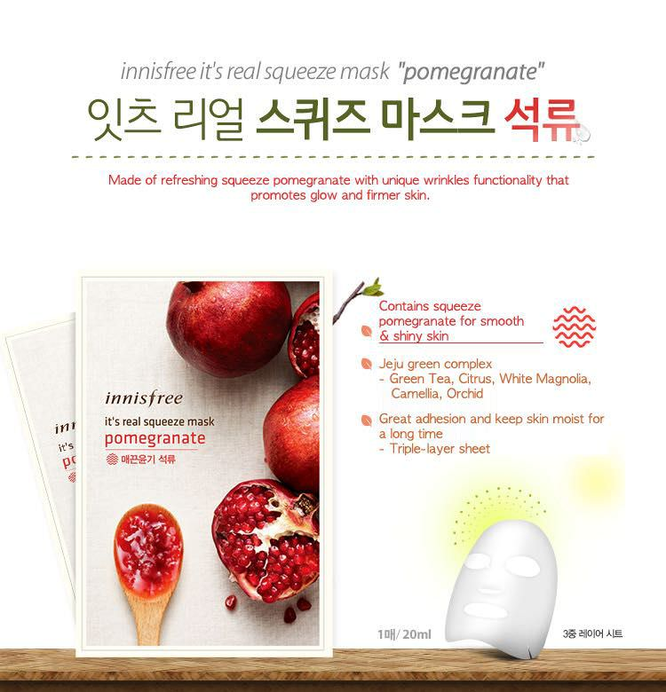 Mặt Nạ Giấy Innisfree Gói It's Real Squeeze Mask Pomegranate