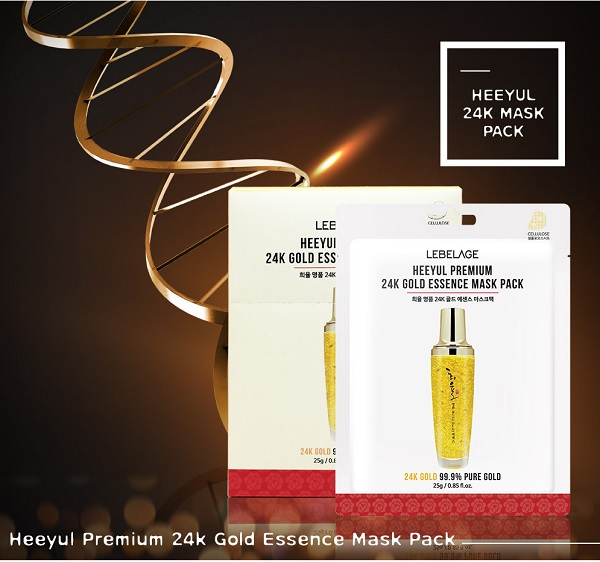 Mặt Nạ Tinh Chất Vàng LEBELAGE Heeyul Premium 24k Gold Essence Mask Pack 25g (Miếng Lẻ)