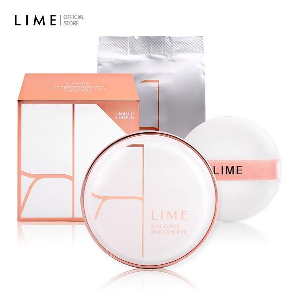 Thiết kế Bộ Phấn Nước Kiềm Dầu Lime Real Cover Pink Cushion Set SPF50+ PA+++