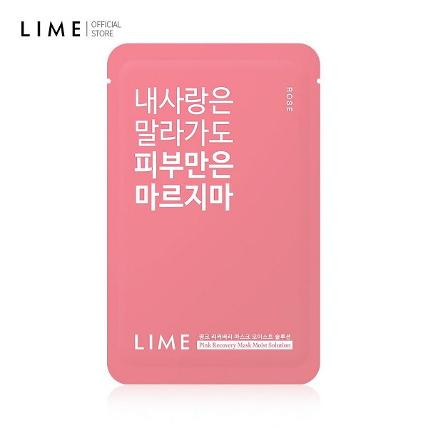 Hình ảnh thực tế Mặt Nạ Dưỡng Ẩm Chiết Xuất Hoa Hồng Lime Pink Recovery Mask Moist Solution 25ml