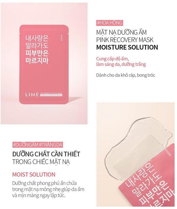 Công dụng Mặt Nạ Dưỡng Ẩm Chiết Xuất Hoa Hồng Lime Pink Recovery Mask Moist Solution 25ml
