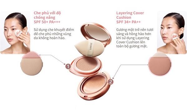 Công dụng của Kem Phấn Nền 2 Lần Che Phủ Laneige Layering Cover Cushion & Concealing Base 16.5g