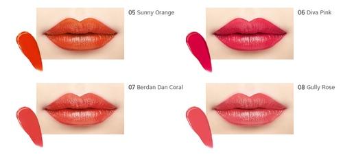 Bảng màu Son Mamonde Creamy Tint Squeeze Lip - cam hồng tươi