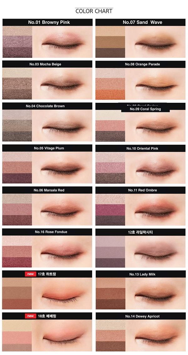 Bảng màu Phấn Mắt 3 Màu Đẹp Hoàn Hảo Missha The Style Triple Perfection Shadow
