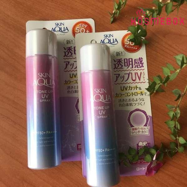 Xịt Chống Nắng Chiết Xuất Ngọc Trai Rohto Skin Aqua Tone Up UV Spray SPF50+/PA+++ 70g