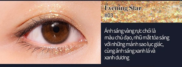 Gel Nhũ Mắt Romand The Universe Liquid Glitter #03 Evening Star