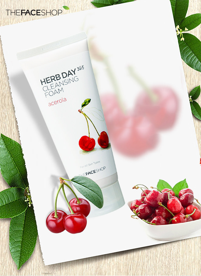 Sữa rửa mặt Herb Day 365 Cleansing Foam The Face Shop #acerola