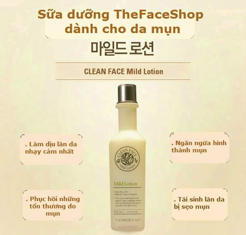 Sữa Dưỡng Trị Mụn The Face Shop Clean Face Mild Lotion 130ml