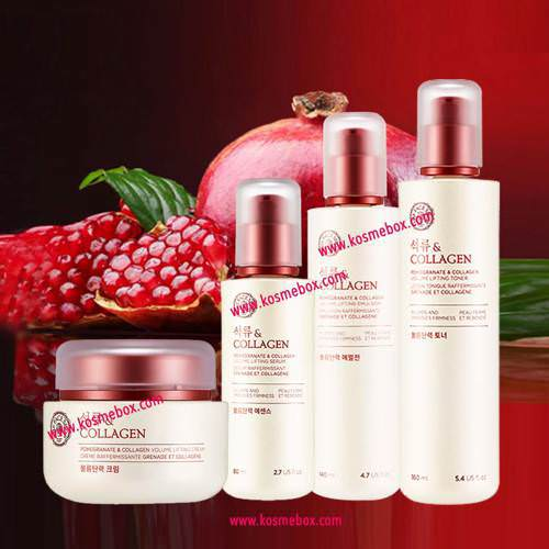 Bộ dưỡng ngăn ngừa lão hóa da the face shop pomegranate & collagen volume lifting set
