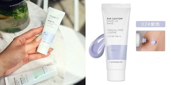 Kem Lót Kiềm Dầu Và Hiệu Chỉnh Tông Da The Face Shop Air Cotton Makeup Base SPF30 PA++ 35ml (#02 Lavender - Màu Tím)