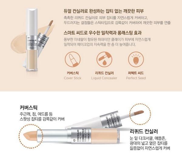 Che Khuyết Điểm Siêu Đa NăngThe Face Shop Concealer Dual Veil8.1g