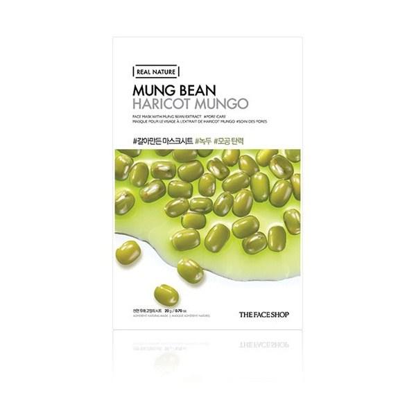 Combo 10 Mặt Nạ Giấy Đậu Xanh Cho Da Nhạy Cảm The Face Shop Real Nature Mask Mung Bean 20g
