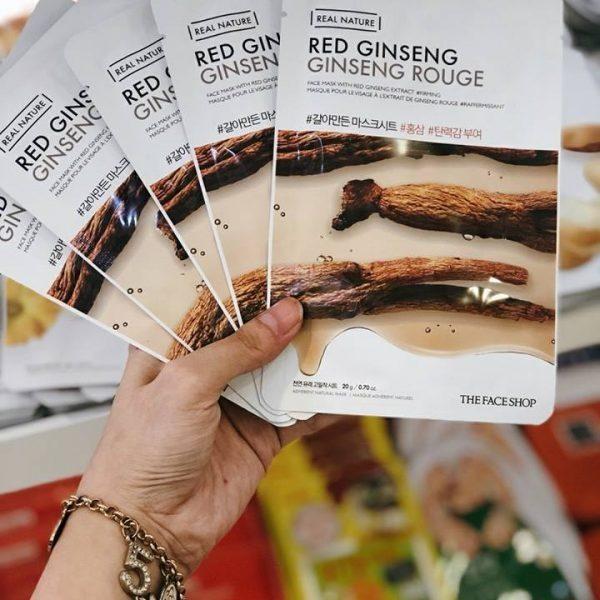 Combo 10 Mặt Nạ Giấy Hồng Sâm Chống Lão Hóa Da The Face Shop Real Nature Mask Red Ginseng 20g